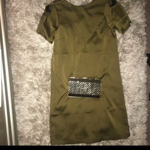 Silk olive green dress
